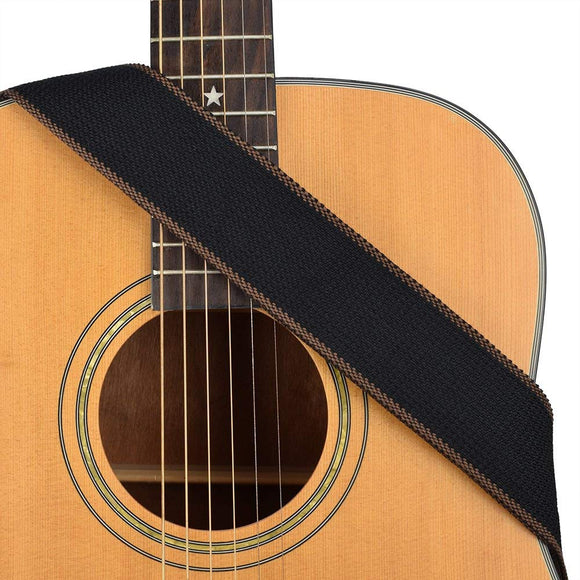 CLOUDMUSIC Guitar Strap For Kids Guitar Acoustic Guitar Bass (Solid Black)