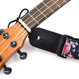 CLOUDMUSIC Ukulele Strap Hawaiian Hibiscus Roses Floral Strap For Soprano Concert Tenor Baritone (Red Purple Roses)