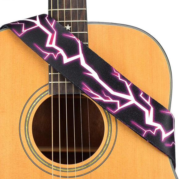 CLOUDMUSIC Guitar Strap Polyester Printing Blue Red Purple Guitar Strap For Kids Guitar Acoustic Guitar Bass Electric (Purple Lightning)