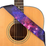 CLOUDMUSIC Strap Starry Night Purple Blue Starry Sky Galaxy Pattern (Purple Galaxy Guitar Strap)