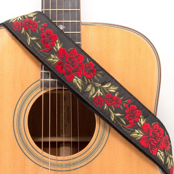 CLOUDMUSIC Guitar Strap Jacquard Weave Strap With Leather Ends Vintage Classical Pattern Design Guitar Picks Free (Red Roses)