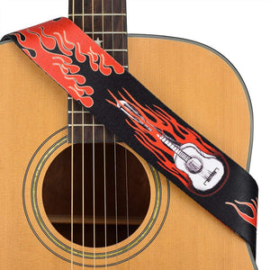 CLOUDMUSIC Guitar Strap Jacquard Weave Strap With Leather Ends Vintage Classical Pattern Design Guitar Picks Free (Vintage Classical Pattern Design 30)