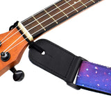 CLOUDMUSIC Strap Starry Night Purple Blue Starry Sky Galaxy Pattern (Blue Starry Ukulele Strap)