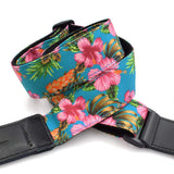 CLOUDMUSIC Ukulele Strap Hawaiian Hibiscus Roses Floral Strap For Soprano Concert Tenor Baritone (Hibiscus In Blue)