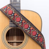 CLOUDMUSIC Guitar Strap Jacquard Weave Strap With Leather Ends Vintage Classical Pattern Design With Guitar Picks