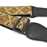 CLOUDMUSIC Guitar Strap Jacquard Weave Strap With Leather Ends Vintage Classical Pattern Design Guitar Picks Free (Vintage Embroidery 1