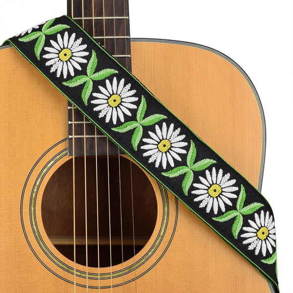 CLOUDMUSIC Guitar Strap Jacquard Weave Strap With Leather Ends Vintage Classical Pattern Design Guitar Picks Free (White Flowers Pattern)