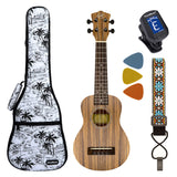 CLOUDMUSIC Zebrawood Soprano Ukulele Kit Hawaiian Palm Tree Ukulele Case & Ukulele Strap & Turner & Felt Picks