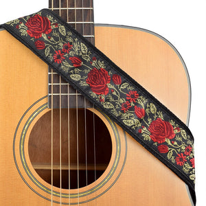 CLOUDMUSIC Guitar Strap Jacquard Weave Strap With Leather Ends Vintage Classical Pattern Design Guitar Picks Free (Golden Rose)
