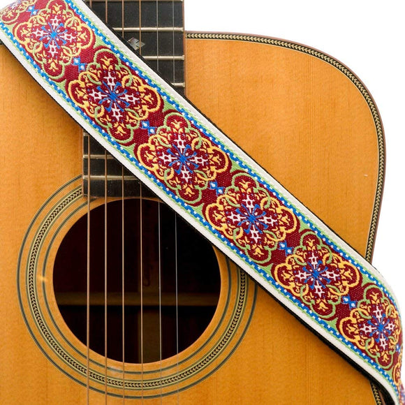 CLOUDMUSIC Guitar Strap Jacquard Weave Strap With Leather Ends Vintage Classical Pattern Design Guitar Picks Free (Vintage Classical Pattern Design 27)