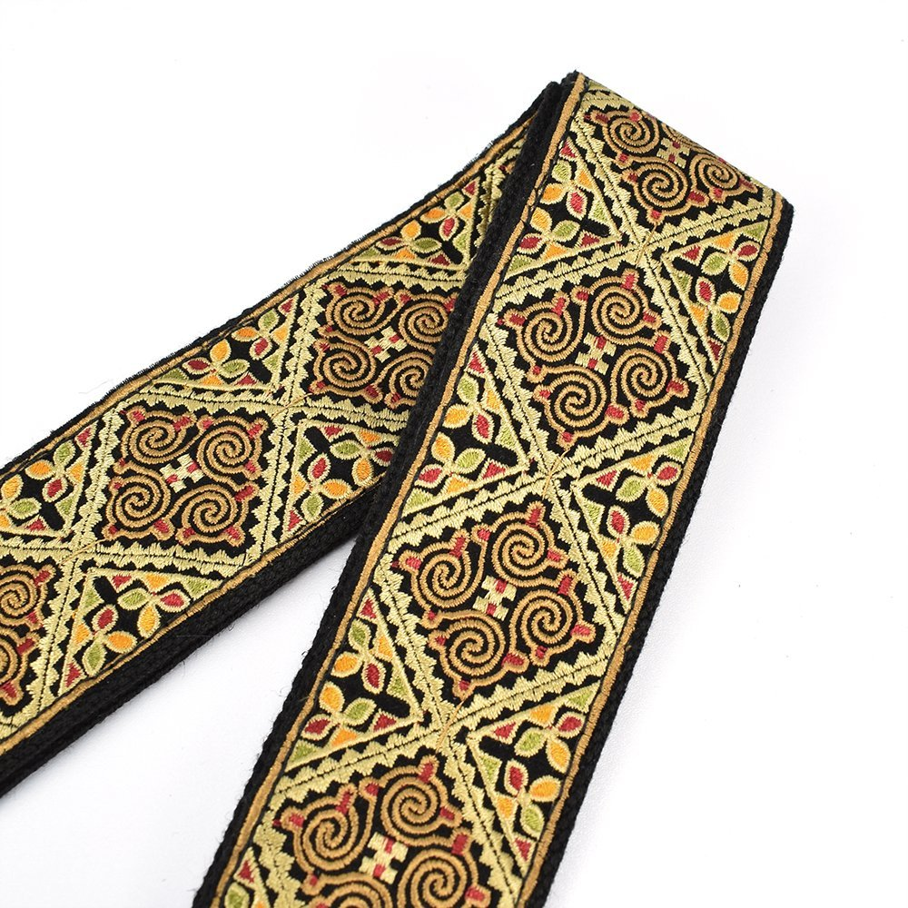 Straps Guitar Strap Embroidered With Leather Ends Vintage Classical Pattern Free