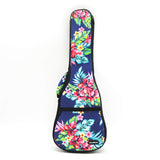 CLOUDMUSIC Hawaiian Floral Ukulele Case Hawaii Hibiscus and Palm Ukulele Backpack (Hawaii Hibiscus and Palm In Dark Blue)