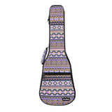 CLOUDMUSIC Hawaii Vintage Ukulele Case Purple Ukulele Backpack With Adjustable Ukulele Strap(National Purple pink yellow)