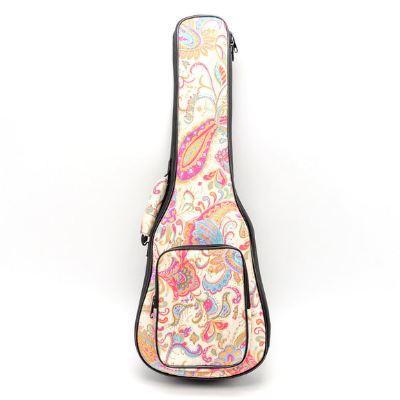 CLOUDMUSIC Christmas Hawaiian Floral Ukulele Case Ukulele Backpack ( Pink Floral Pattern)