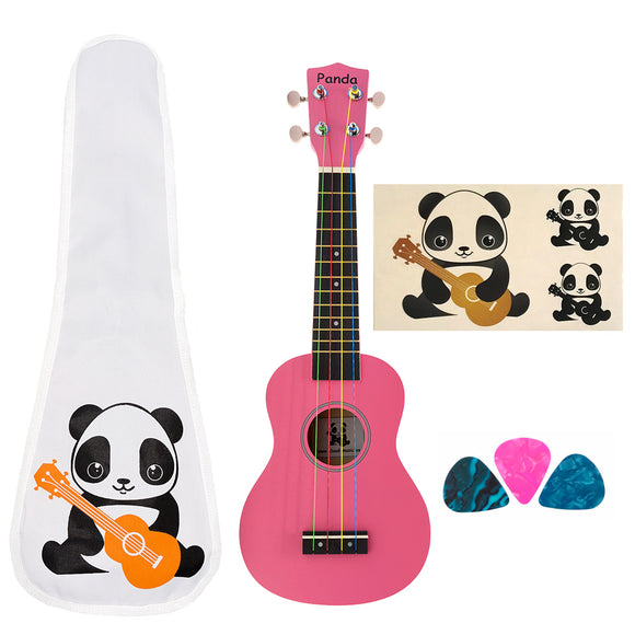 CLOUDMUSIC Panda Soprano Ukulele Princess Pink With Aquila Kids Educational Color Strings New Nylgut Strings For Kids Children Beginner (Pink)