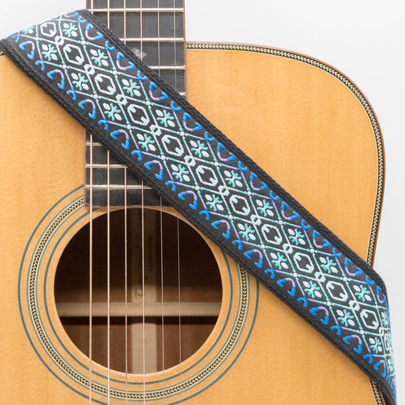 CLOUDMUSIC Guitar Strap Jacquard Weave Strap Apollo Sunny In Black pattern With Leather Ends Vintage Classical Pattern Design With Guitar Picks