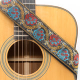 CLOUDMUSIC Guitar Strap Jacquard Weave Strap With Leather Ends Vintage Classical Pattern Design Guitar Picks Free (Blue Red Floral)