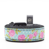 CLOUDMUSIC Colorful Hawaiian Jacquard Woven J Hook Clip On Ukulele Strap Ukulele Belt For Soprano Concert Tenor Ukulele (Pink Roses In Blue)