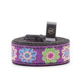 CLOUDMUSIC Colorful Hawaiian Jacquard Woven J Hook Clip On Ukulele Strap Ukulele Belt For Soprano Concert Tenor Ukulele (Colorful Flowers In Purple)