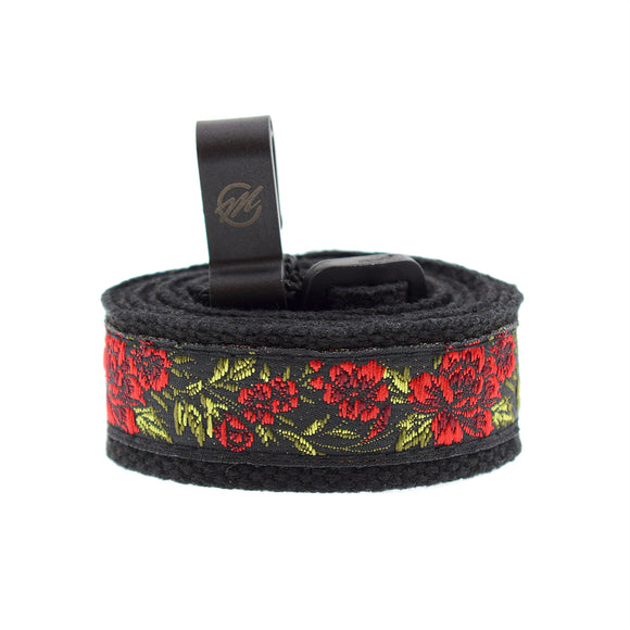 CLOUDMUSIC Colorful Hawaiian Jacquard Woven J Hook Clip On Ukulele Strap Ukulele Belt For Soprano Concert Tenor Ukulele (Red Roses)