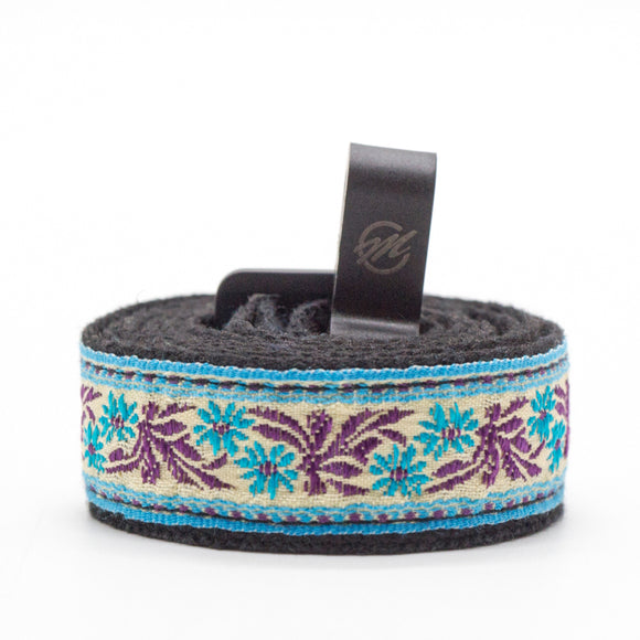CLOUDMUSIC Colorful Hawaiian Jacquard Woven J Hook Clip On Ukulele Strap Ukulele Belt For Soprano Concert Tenor Ukulele (Blue Flowers Purple Leaves In Breige)
