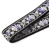 CLOUDMUSIC Jacquard Ukulele Strap Hawaiian Silver Purple Flowers Strap Button Free(Silver and Purple Flower)