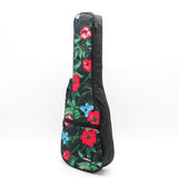CLOUDMUSIC Ukulele Case Hawaiian Hibiscus and Green Leaves Ukulele Bag 10mm Padded Black