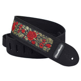 CLOUDMUSIC Guitar Strap PGS Series Jacquard Leather Roses Red Vintage Brown Blue Pattern (Metallic Roses)