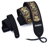 CLOUDMUSIC Guitar Strap PGS Series Jacquard Leather Roses Red Vintage Brown Blue Pattern (Vintage Brown)
