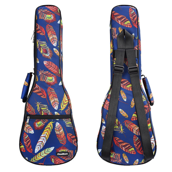 CLOUDMUSIC Ukulele Case For Soprano With Backpack Strap Colorful Feather In Dark Blue