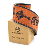 CLOUDMUSIC Guitar Strap Leather For Acoustic Guitar Classical Guitar Electric Guitar Bass (Brown)
