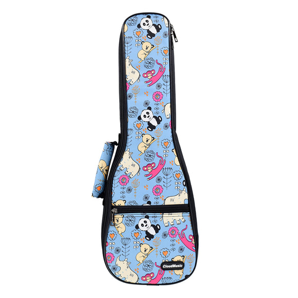CLOUDMUSIC Ukulele Case Hawaiian Flowers Flamingo Pink Animals Bag Backpack For Soprano Concert (Soprano, Panda In Blue)