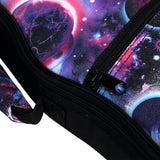 CLOUDMUSIC Soprano Ukulele Case Galaxy Ukulele Backpack Aurora Violet 10mm Padded Ukulele Gig Bag With Planet Starry Night Pattern Purple