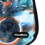 CloudMusic Soprano Ukulele Bag Galaxy Case Fashion Ukulele Gig Bag With Black Adjustable Straps Blue Green Starry Night Planet Patter