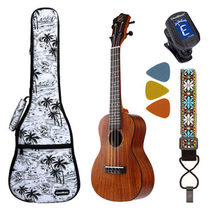 CLOUDMUSIC SS12 Solid Top Acacia Concert Kit Ukulele With Aquila Strings Hawaiian Palm Tree Case Hook Strap Felt Picks