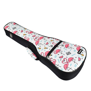 CLOUDMUSIC Ukulele Case Hawaiian Flowers Flamingo Pink Animals Bag Backpack For Soprano Concert (Soprano, Flamingo In White)