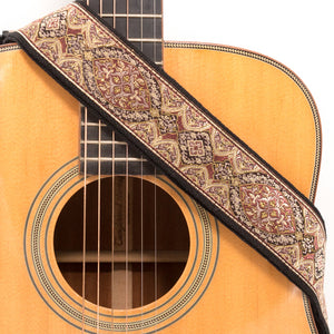 CLOUDMUSIC Guitar Strap Jacquard Weave Strap With Leather Ends Vintage Classical Pattern Design Guitar Picks Free (Flower Design 1)