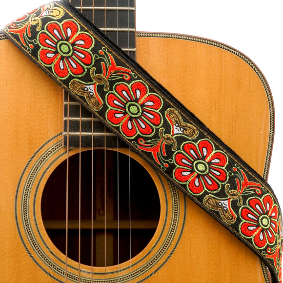 CLOUDMUSIC Guitar Strap Jacquard Weave Strap With Leather Ends Vintage Classical Pattern Design Guitar Picks Free (Vintage Classical Pattern Design 31)