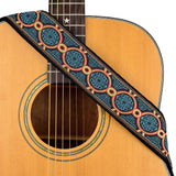 CLOUDMUSIC Guitar Strap Jacquard Weave Strap With Leather Ends Vintage Classical Pattern Design Picks Free