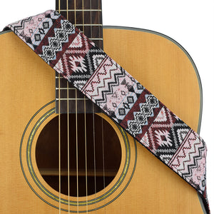 CLOUDMUSIC Guitar Strap Jacquard Weave Strap With Leather Ends Vintage Classical Pattern Design Guitar Picks Free