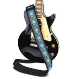 CLOUDMUSIC Guitar Strap PGS Series Jacquard Leather Roses Red Vintage Brown Blue Pattern (Blue Pattern)