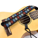 CLOUDMUSIC Colorful Hawaiian Jacquard Woven J Hook Clip On Ukulele Strap Ukulele Belt For Soprano Concert Tenor Ukulele (Pink Flowers)