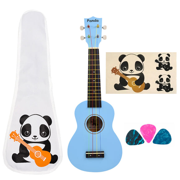 CLOUDMUSIC Panda Soprano Ukulele Prince Royalblue With Aquila Educational Color Strings New Nylgut Strings for Kids Beginner (Prince Royalblue)