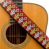CLOUDMUSIC Guitar Strap Jacquard Weave Strap With Leather Ends Vintage Classical Pattern Design Guitar Picks Free (Vintage Classical Pattern Design 29)
