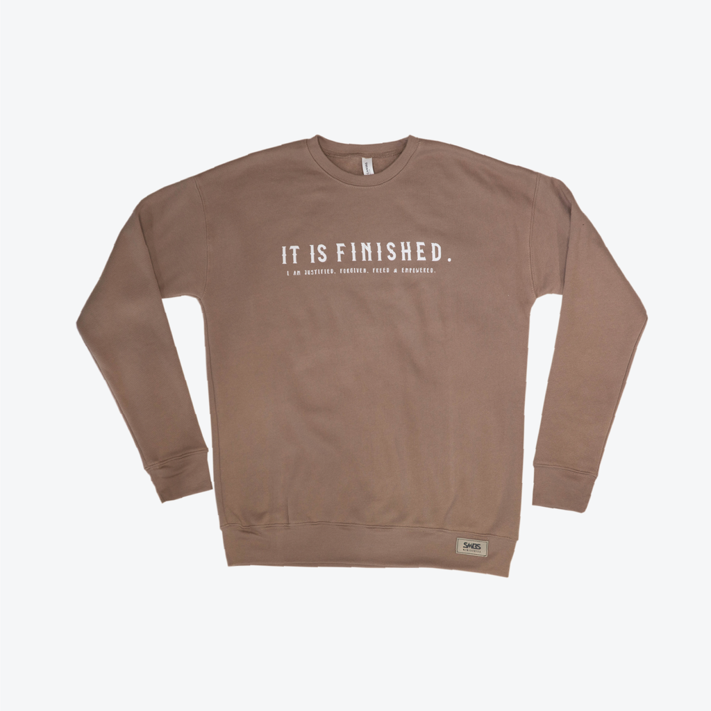 """It is finished"" Sweater (tan)"