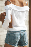 Pinkpatty Casual Dew Shoulder Buttons White Polyester Shirts