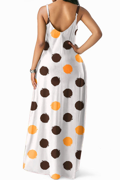 Pinkpatty Casual Dots Printed Coffee Floor Length Dress