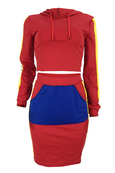 Pinkpatty Casual Hooded Collar Patchwork Red Twilled Satin Two-piece Skirt Set