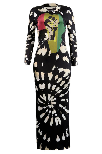 Pinkpatty  Casual Long Sleeves Printed Black Ankle Length  Dress