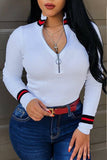 Pinkpatty Casual Bust Zippers White Sweaters